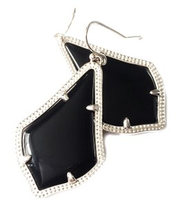 Kendra Scott NEW Kendra Scott Alex Black & Silver Rhodium Glass Drop Earrings