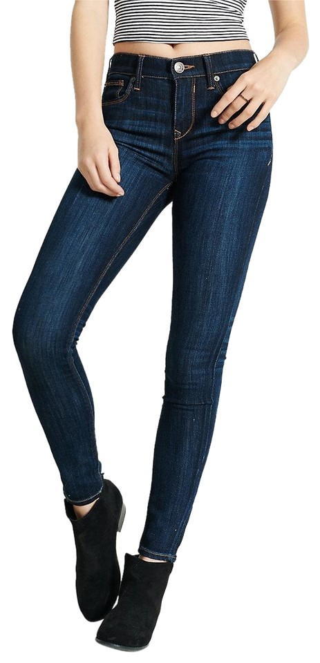 Express Dark Blue Rinse Womens Mid Jeggings Wash Skinny Jeans Size ... 9e8d060549c