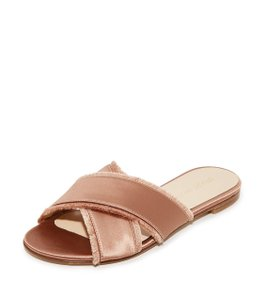 Stuart Weitzman Slide Flats Adobe Satin Sandals