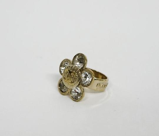 Chanel CHANEL Designer CC Logo Large Crystal Flower Ring Sz 6.5