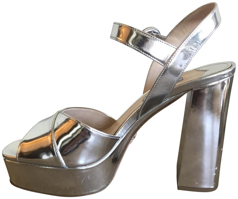 4762afd9737 Prada Silver Metallic Chunky Sandals Size EU 38 (Approx. US 8 ...