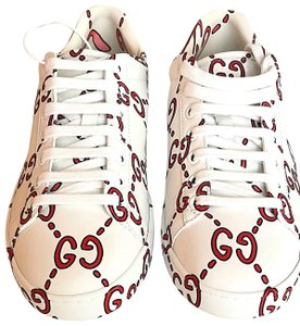 cee295a6bf9 Gucci White Ace Print Logo Red Low Top Leather Sneakers Lace Up Green  Sneakers