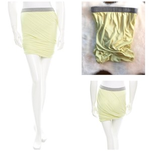 T by Alexander Wang Mini Ruched Twisted Mini Skirt Lime Green Gray