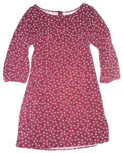 Old Navy short dress Burgundy Floral Tunic 3/4 Sleeve Back Exposed Zipper on Tradesy