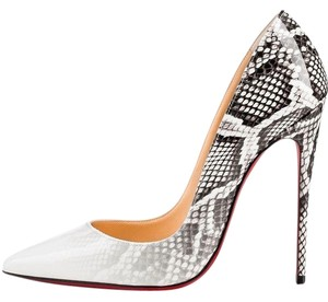 Christian Louboutin Leather Textured white with snake skin print Pumps