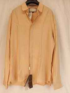 Gucci Pink Nude Viscose Cambridge Button Dress 16 41 #401313 Italy Shirt