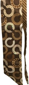 "Coach COACH SIGNATURE ""C"" BROWN, IVORY WITH SEQUINED SILK PONYTAIL SCARF"