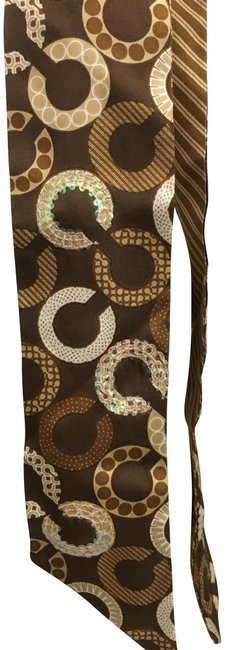 """Item - Brown Ivory Beige Signature """"C"""" with Sequined Silk Ponytail Scarf Hair Accessory"""