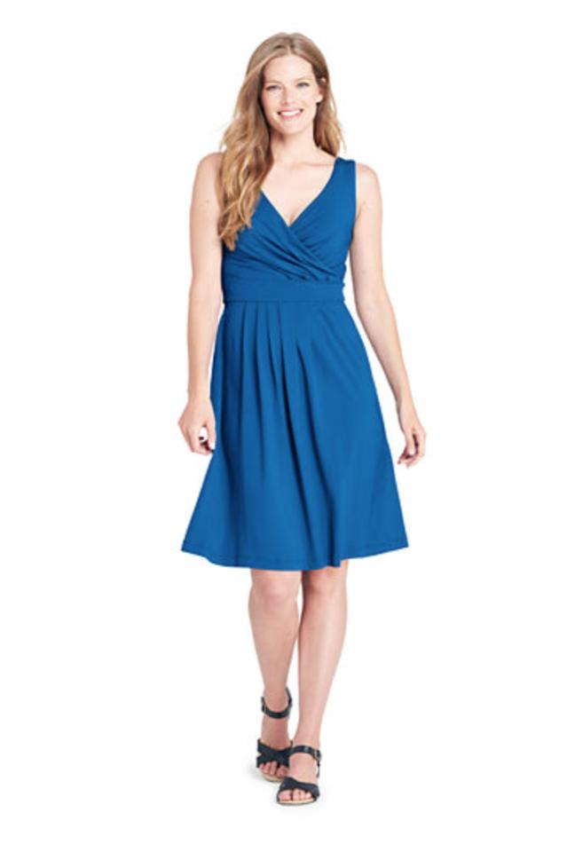 ce5c2061b9f Lands  End short dress Blue V-neck Sleeveless Solid Knit on Tradesy Image 0  ...
