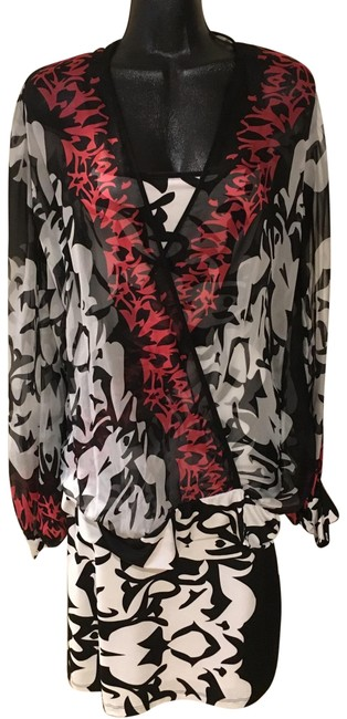 Item - Black White & Red Accents Two Piece Mid-length Short Casual Dress Size 12 (L)