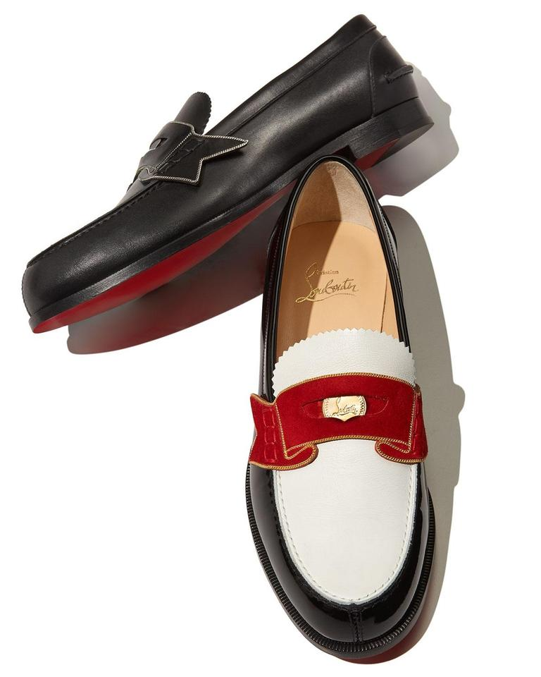 af91f6cb789 Christian Louboutin Black White Red Gold Monana Penny Loafer A747 Flats  Size EU 37.5 (Approx. US 7.5) Regular (M, B) 26% off retail