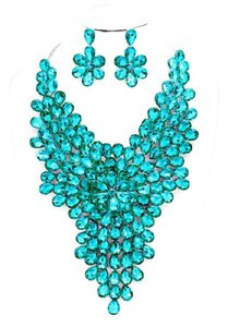 Other Teardrop Crystal and Rhineston Cluster Vine Statement Evening Necklace