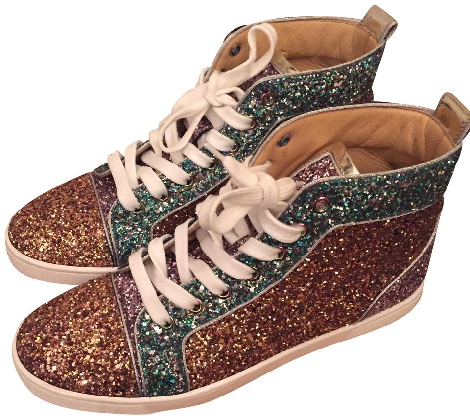 check out 59cb4 547e8 Christian Louboutin Green Yellow Gold Purple Orlato Bip Bip Glitter  Sneakers Size EU 39.5 (Approx. US 9.5) Regular (M, B) 45% off retail