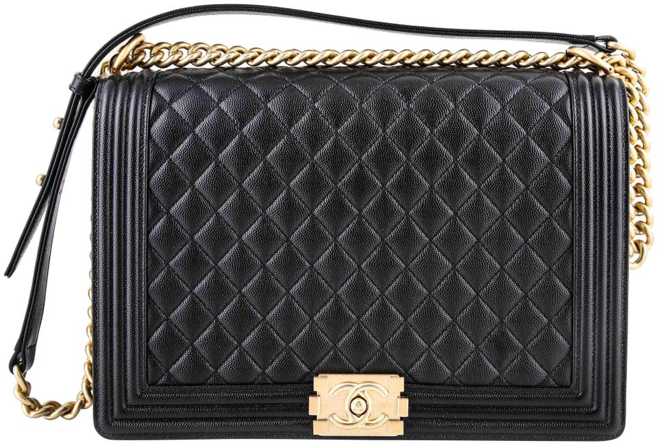 e43bc239 Chanel Boy Large Grained Gold-tone Metal * Black Calfskin Leather Cross  Body Bag