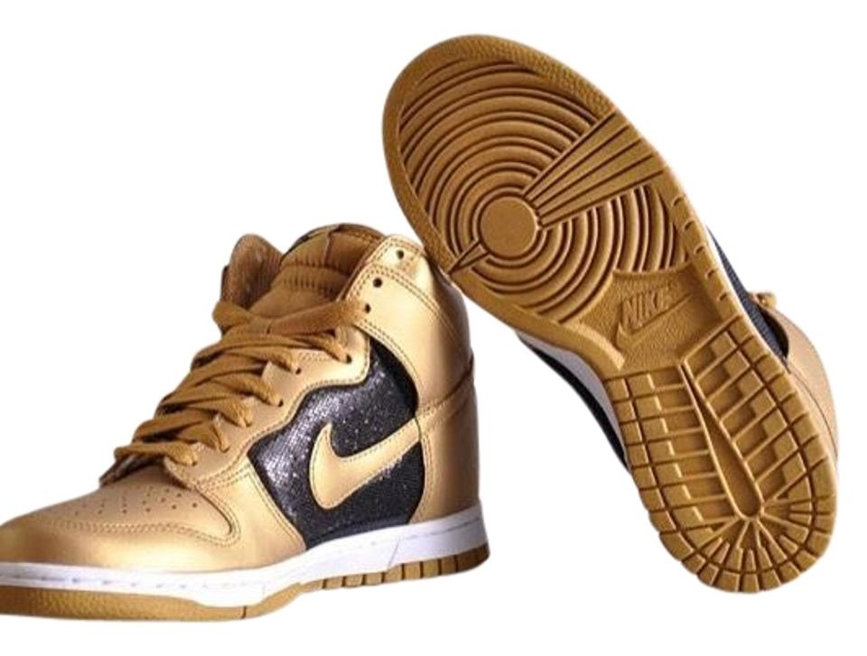 on sale bb7f3 5a5f9 Nike Gold and Black Women s Dunk High Metallic Pack - Sneakers