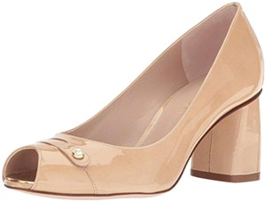 Stuart Weitzman Patent Leather Peep Toe Chunky Nude Pumps