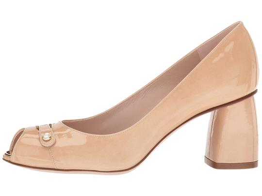 Stuart Weitzman Patent Leather Peep Toe Chunky Nude Pumps Image 1