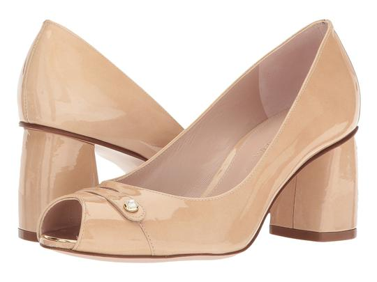 Stuart Weitzman Patent Leather Peep Toe Chunky Nude Pumps Image 10