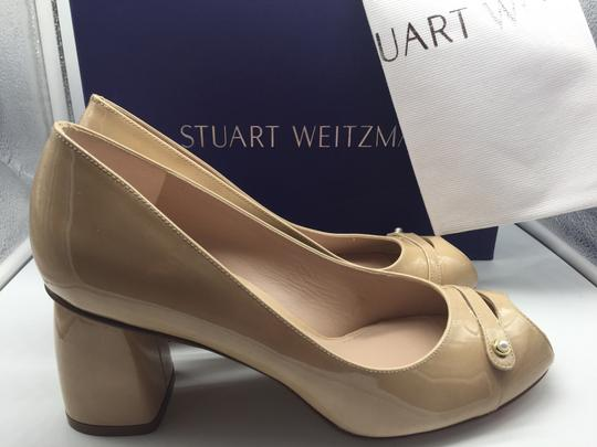 Stuart Weitzman Patent Leather Peep Toe Chunky Nude Pumps Image 3