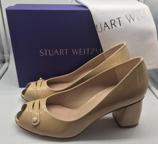 Stuart Weitzman Patent Leather Peep Toe Chunky Nude Pumps Image 4