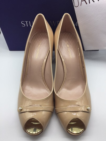 Stuart Weitzman Patent Leather Peep Toe Chunky Nude Pumps Image 5
