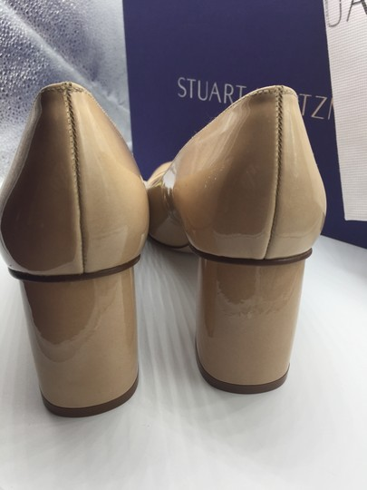 Stuart Weitzman Patent Leather Peep Toe Chunky Nude Pumps Image 7