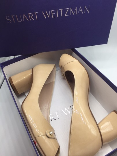 Stuart Weitzman Patent Leather Peep Toe Chunky Nude Pumps Image 9