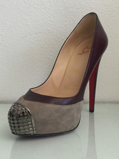 Christian Louboutin Red Bottoms Leather Suede Platform Metal Burgundy and Grey Pumps Image 2