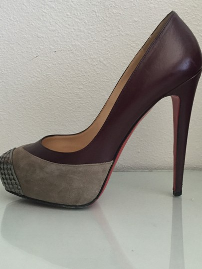 Christian Louboutin Red Bottoms Leather Suede Platform Metal Burgundy and Grey Pumps Image 3