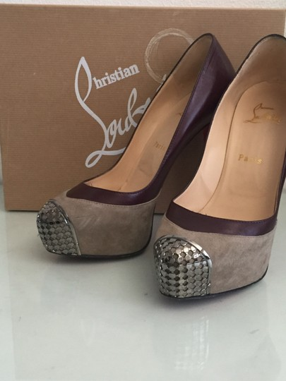 Christian Louboutin Red Bottoms Leather Suede Platform Metal Burgundy and Grey Pumps Image 4