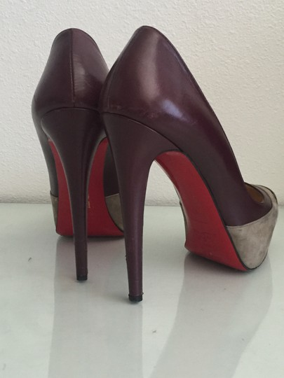 Christian Louboutin Red Bottoms Leather Suede Platform Metal Burgundy and Grey Pumps Image 6