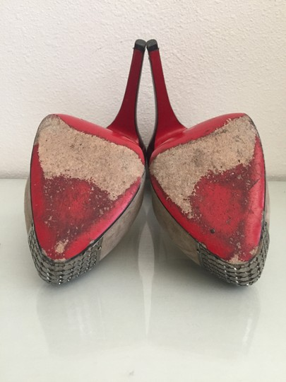 Christian Louboutin Red Bottoms Leather Suede Platform Metal Burgundy and Grey Pumps Image 7