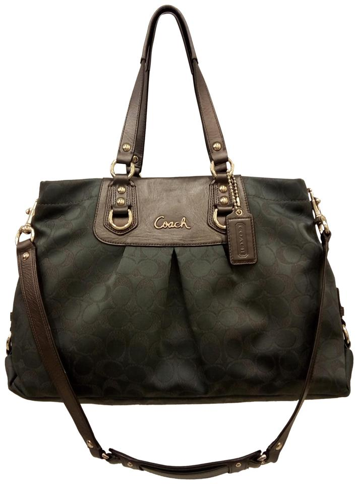 030c397041 Coach 1941 Charcoal Metallic Dark Ashley Carryall Tote Shoulder Gray Canvas  and Leather Satchel