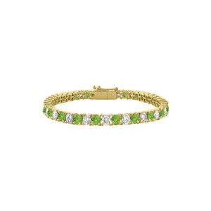 DesignerByVeronica Peridot Tennis Bracelet CZ 10CT. TGW. on Yellow Vermeil