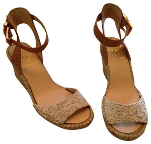 Vince Camuto Lace Overlay Wedge Beige Sandals