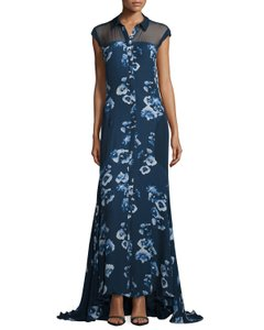 Haute Hippie Long Navy Maxi Floral Chiffon Dress
