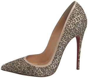 Christian Louboutin Glitter Suede Patent Leather Cutout Silver Pumps