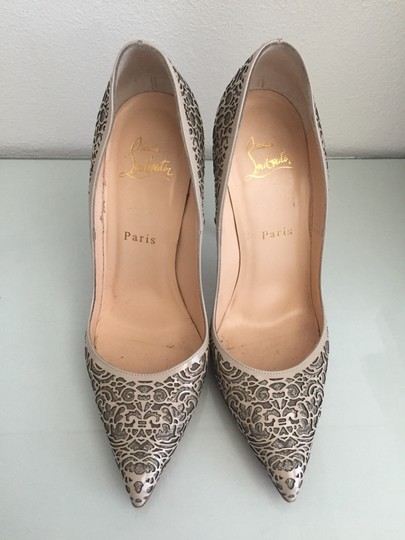 Christian Louboutin Glitter Suede Patent Leather Cutout Silver Pumps Image 1