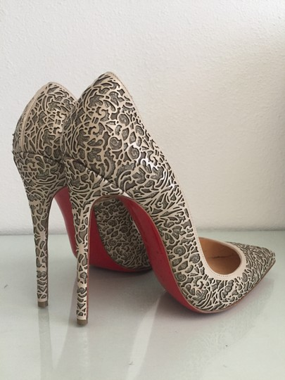Christian Louboutin Glitter Suede Patent Leather Cutout Silver Pumps Image 4