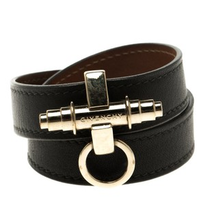 Givenchy Obsedia Brown Leather Gold Tone Wrap Around Bracelet