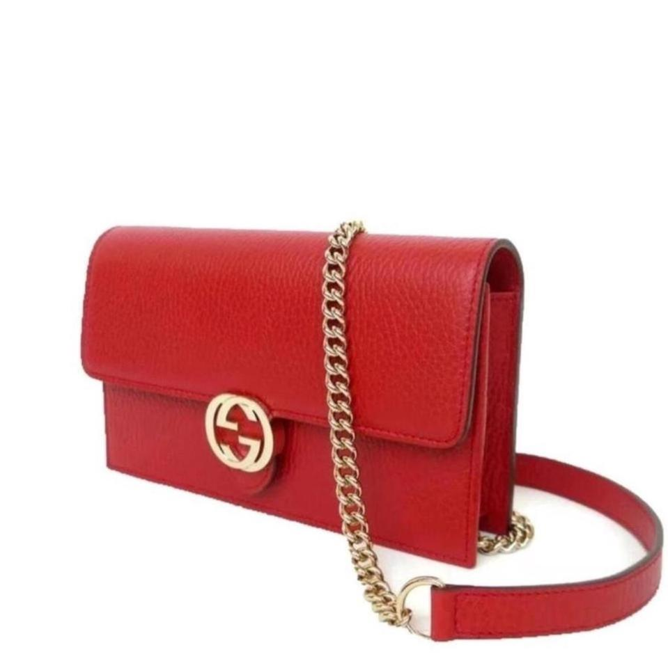a0d34868ebb5 Gucci Chain Wallet Icon Gg Red Leather Cross Body Bag - Tradesy