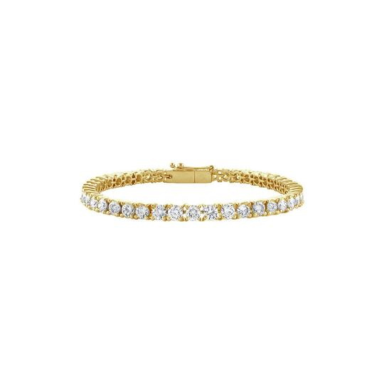 DesignerByVeronica Cubic Zirconia Tennis Bracelet in Yellow Vermeil 5 CT TGW- April Birth Image 0