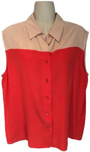 Equipment Silk Button Down Collar Sleeveless Top red and nude