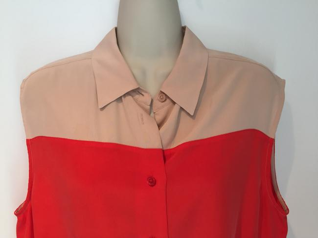 Equipment Silk Button Down Collar Sleeveless Top red and nude Image 1