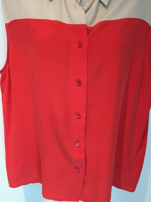 Equipment Silk Button Down Collar Sleeveless Top red and nude Image 2