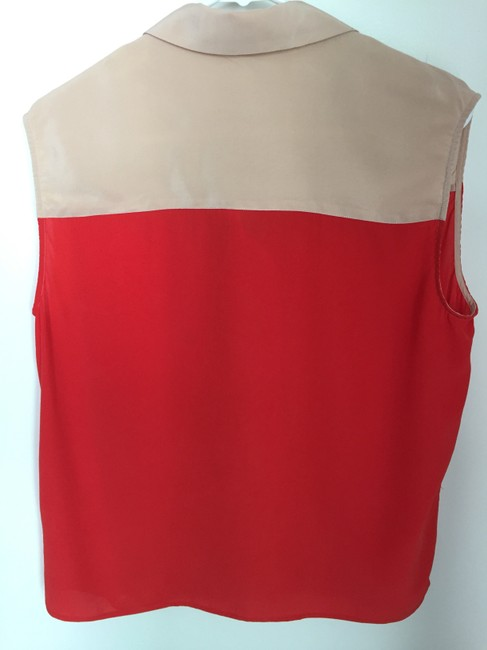 Equipment Silk Button Down Collar Sleeveless Top red and nude Image 3