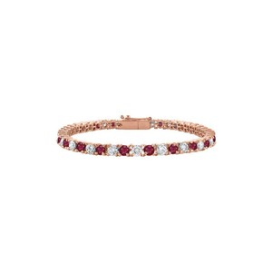 DesignerByVeronica Designer CZ Created Ruby Tennis Bracelet in Rose Vermeil. 5CT TGW. 7