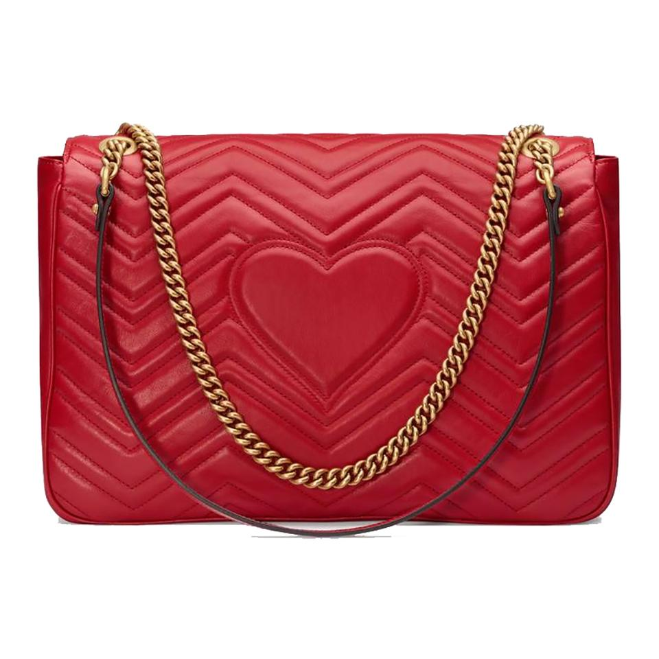 f83c8988ff84de Gucci GG Marmont Large Hibiscus Red Leather Shoulder Bag - Tradesy