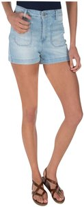 Jessica Simpson 4-patch Pockets Tonal/Hand Topstitch High Rise Lightweight Denim 98% Cotton Mini/Short Shorts Light-Blue