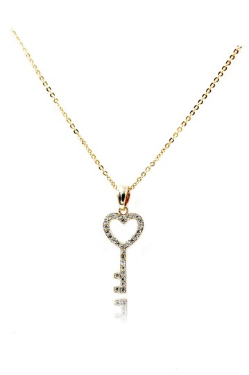 Preload https://img-static.tradesy.com/item/23589280/gold-925-simple-heart-key-crystal-necklace-0-0-540-540.jpg